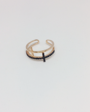Rose Gold Two Cross Adjustable Ring